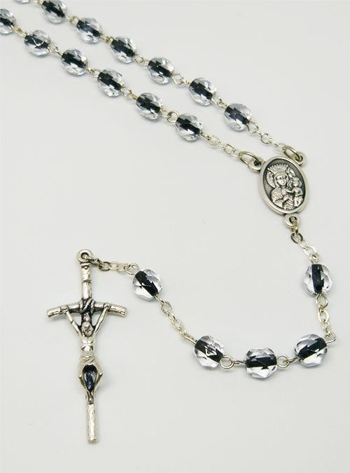 948a1890508 Pope John Paul II Crystal Rosary with Black Insert
