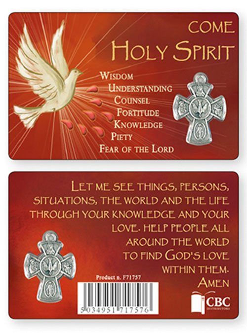 Gifts of the holy spirit prayer card with metal holy spirit cross medal negle Image collections