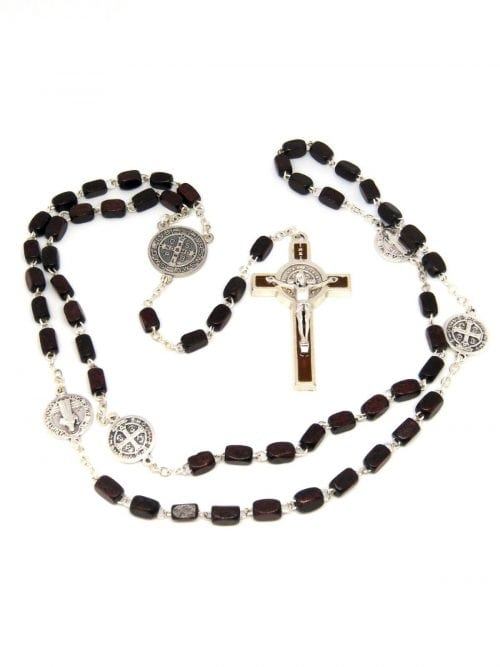 St Benedict Rosary Beads Brown