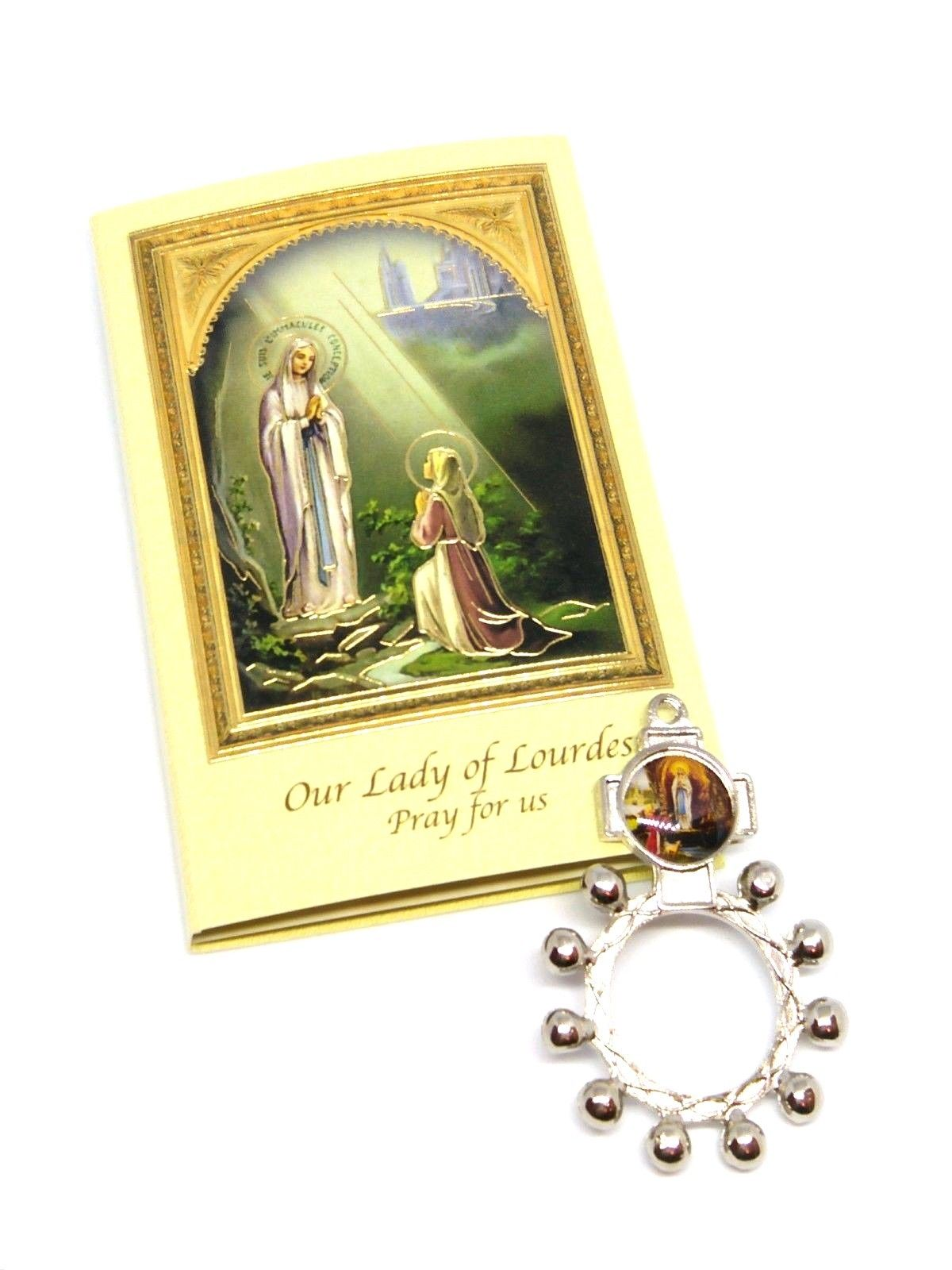 Our Lady Of Lourdes Rosary Ring With Prayer Card Piety Stall