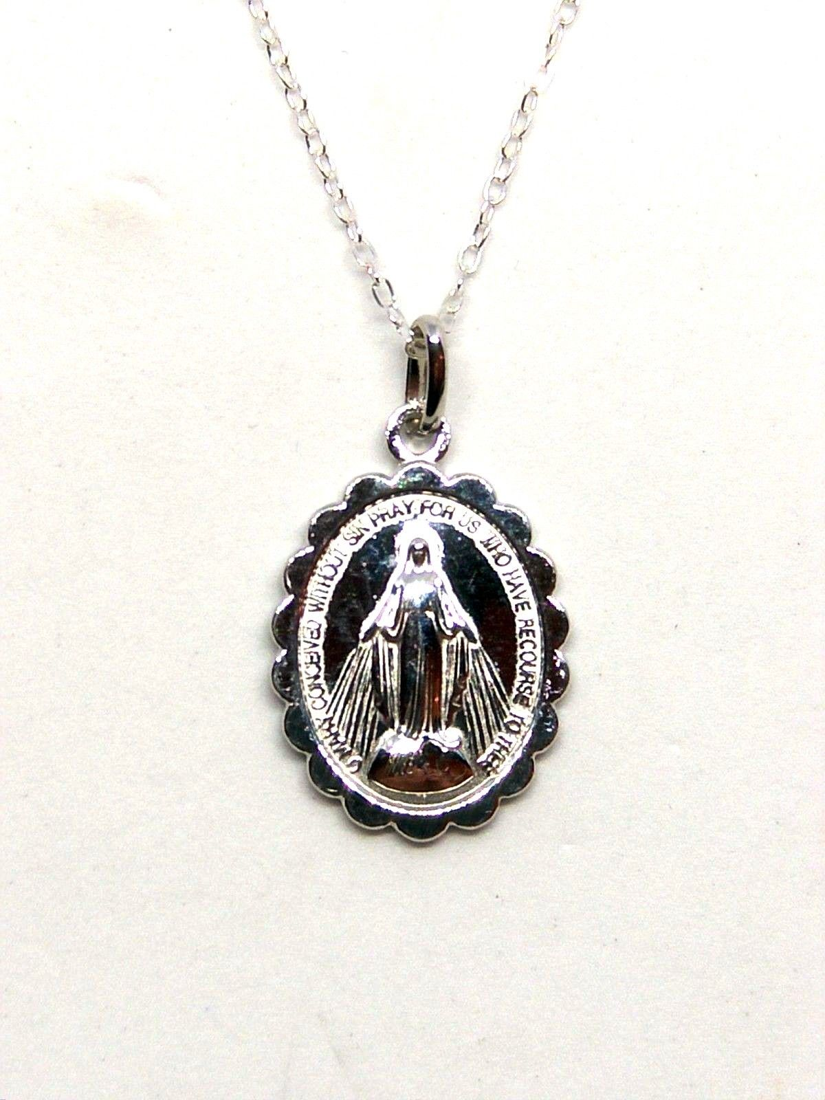 Sterling Silver Miraculous Medal Necklace Piety Stall