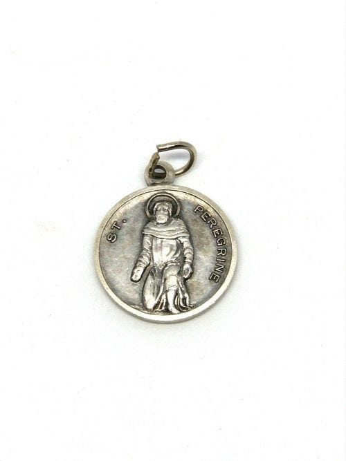 Silver metal and enamel blue Miraculous Virgin Mary medal Our Lady of Grace 2cm