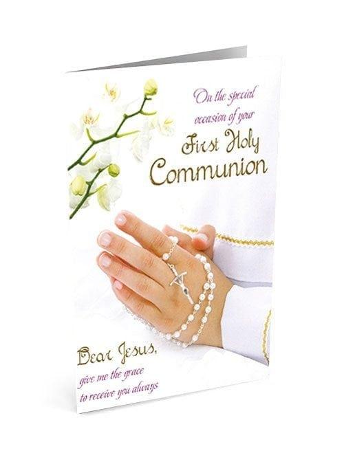 First Holy Communion Card Keepsake Communion 3D Card Rosary Blue Stones Boys