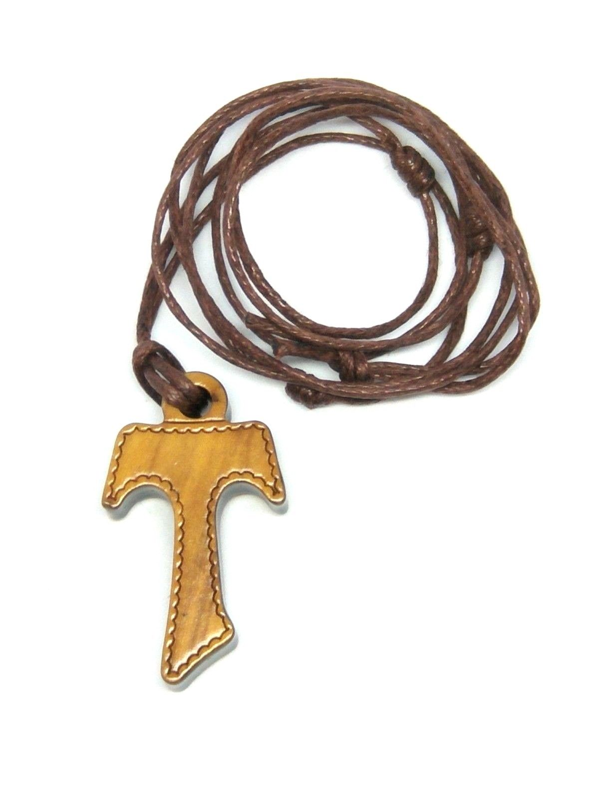 Olive wood tau cross with detailing and cord necklet tau cross with detailing and cord necklet mozeypictures Image collections
