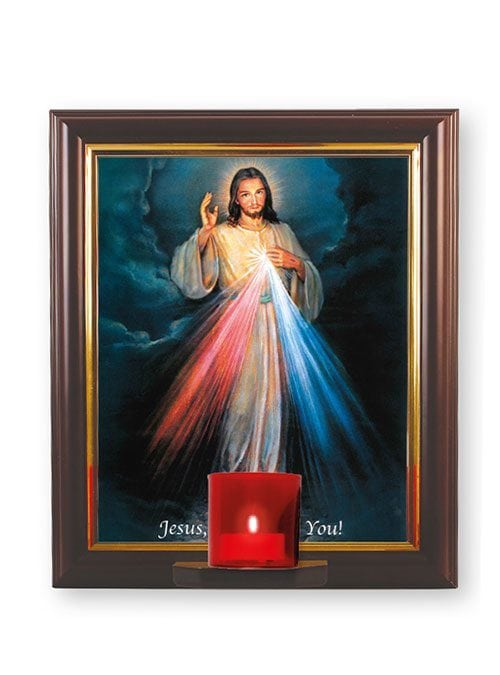 divine mercy picture with votive light