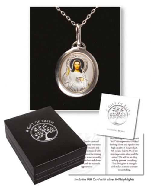 Sterling silver divine mercy medal