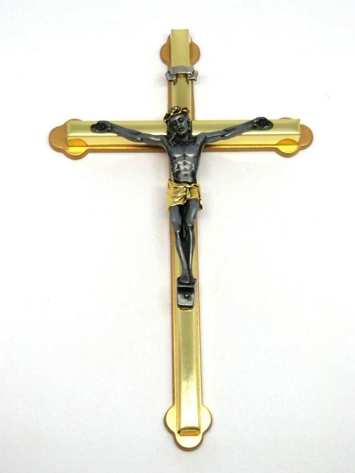 two tone brass crucifix