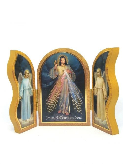 divinie mercy triptych made of wood