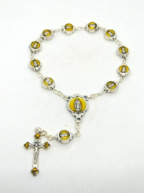Our Lady of Guadalupe Single Decade Rosary Rosary consists of: 8mm x 5mm oval metal beads with an image of Our Lady to both sides On the junction we have Our Lady of Guadalupe with Gold Enamel