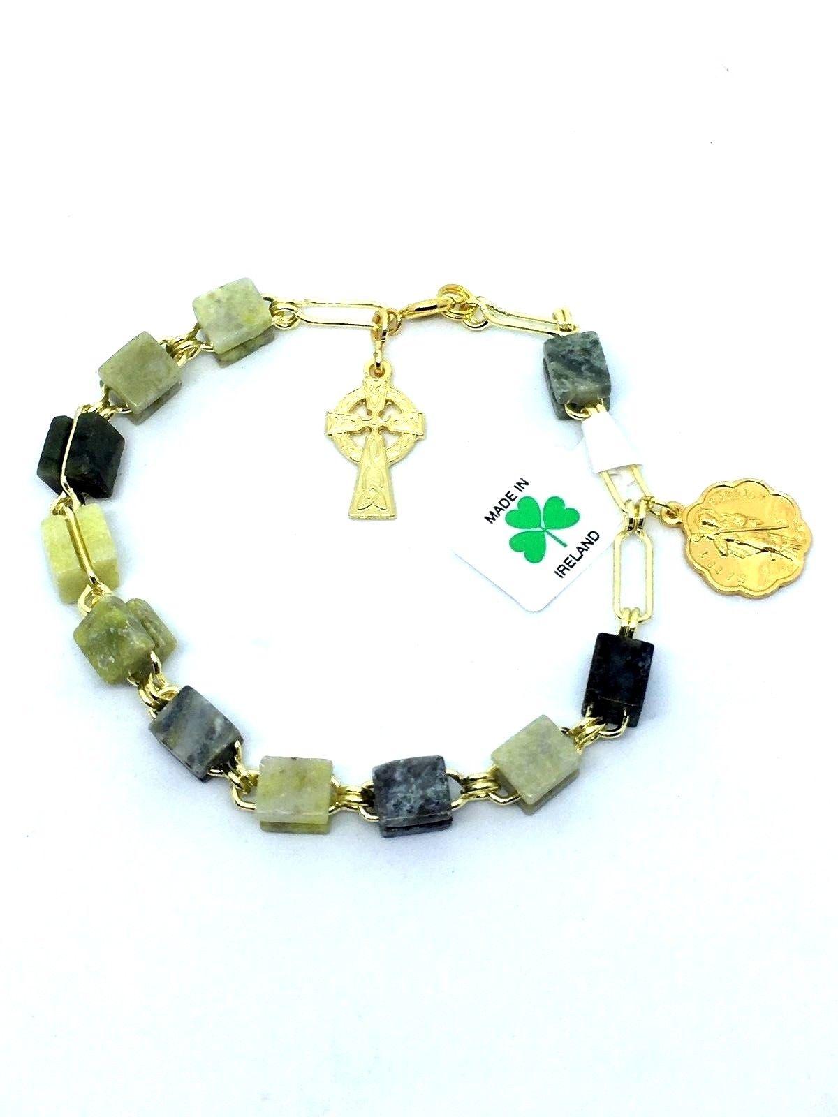 Irish Connemara Marble Rosary Bracelet Hand Made Piety