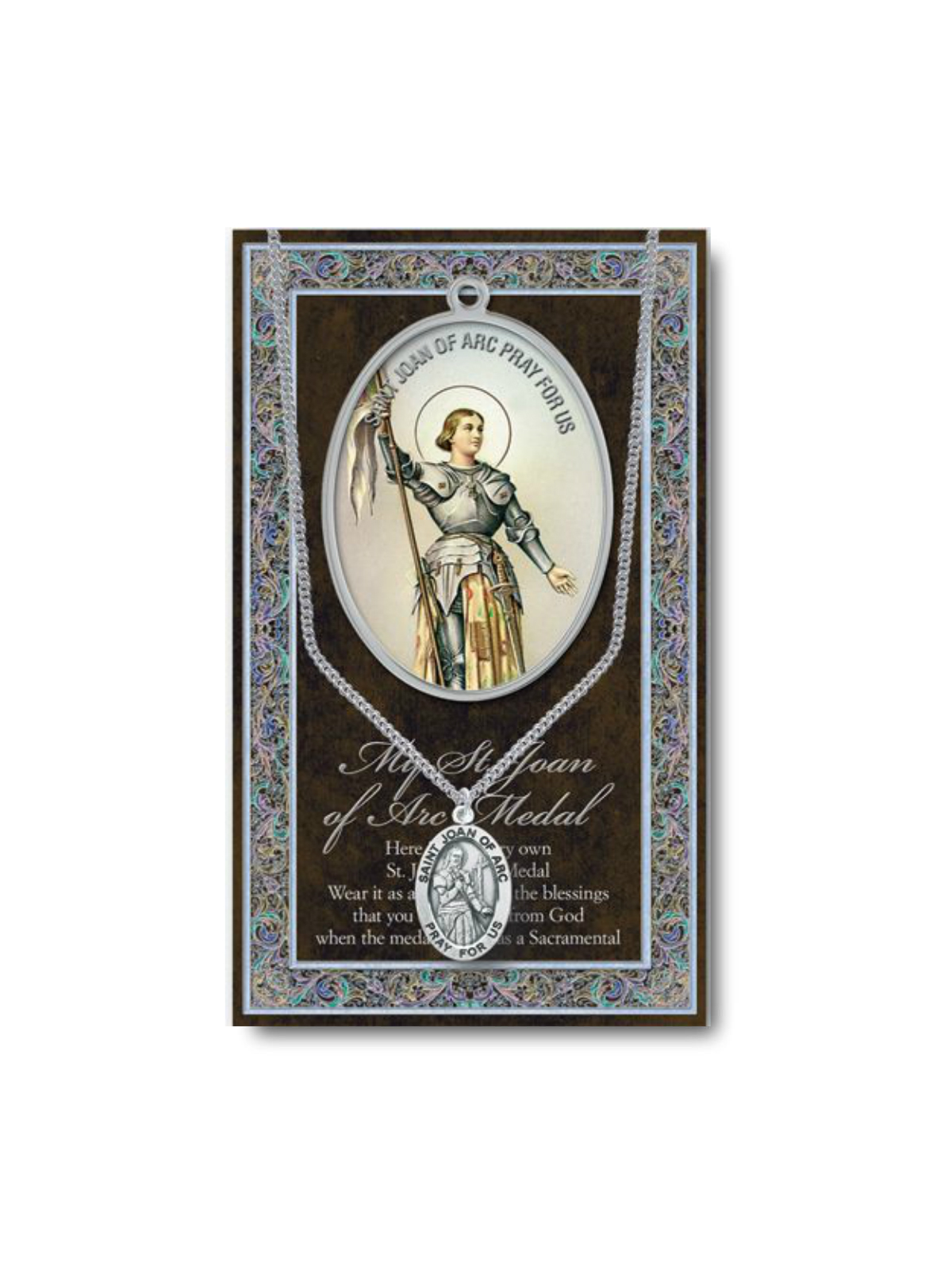 St Cecilia Medal Chain /& Prayer Card  Pewter Medal and Stainless Steel Chain