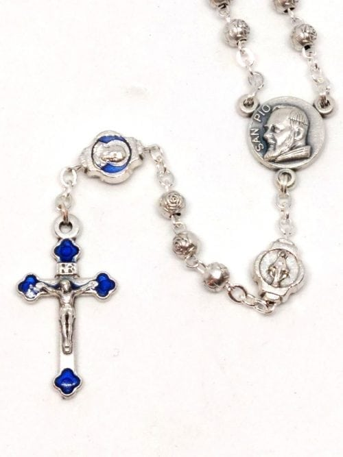 Rosary beads with 32 page booklet Gift boxed Saint Pio // Sacred Heart