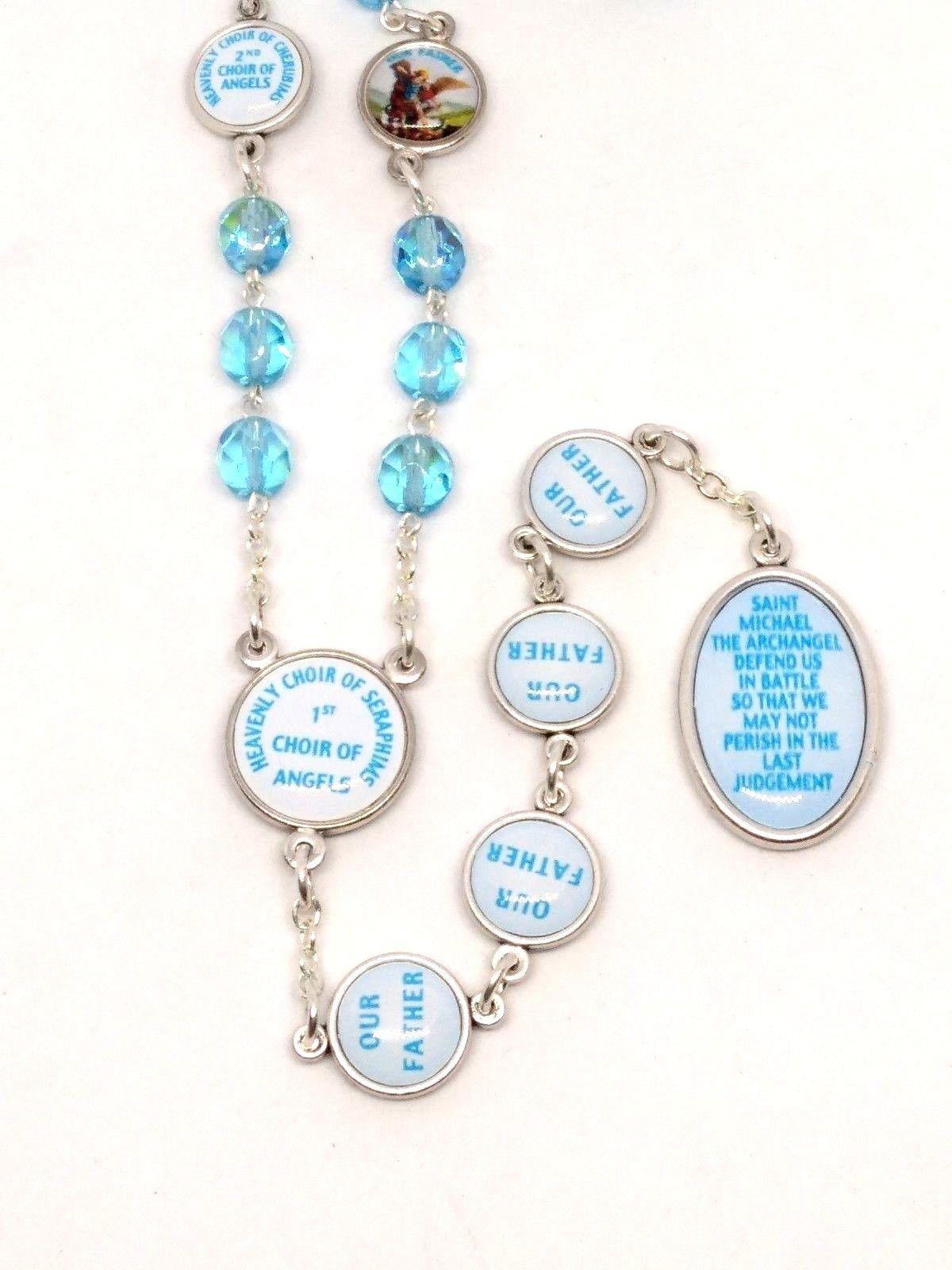 Catholic Rosaries /& Lourdes Prayer Card Turquoise Scapular Rosary Beads Our Lady Mount Carmel /& Sacred Heart of Jesus Scapular Chaplet