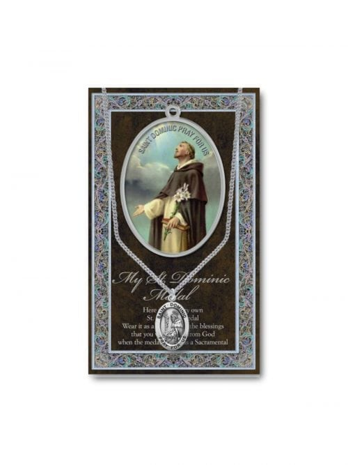 St Dominic Medal and Prayer Card