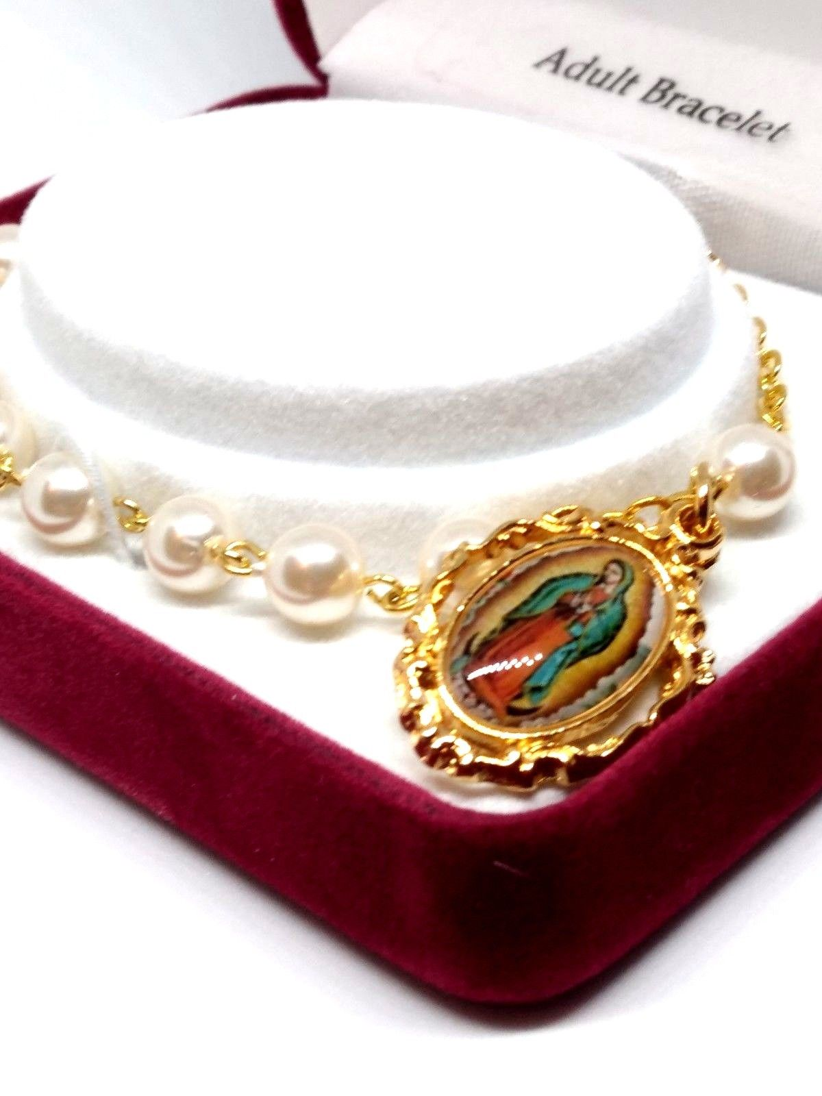 Pearl Our Lady of Guadalupe Bracelet with Medal and Cross Wonderful Quality