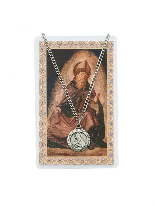 St Augustine Medal Chain and Prayer Card
