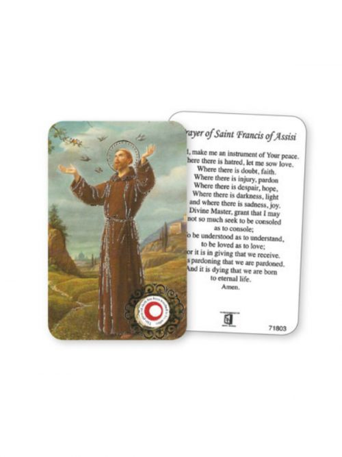 St Francis Prayer Card with Relic