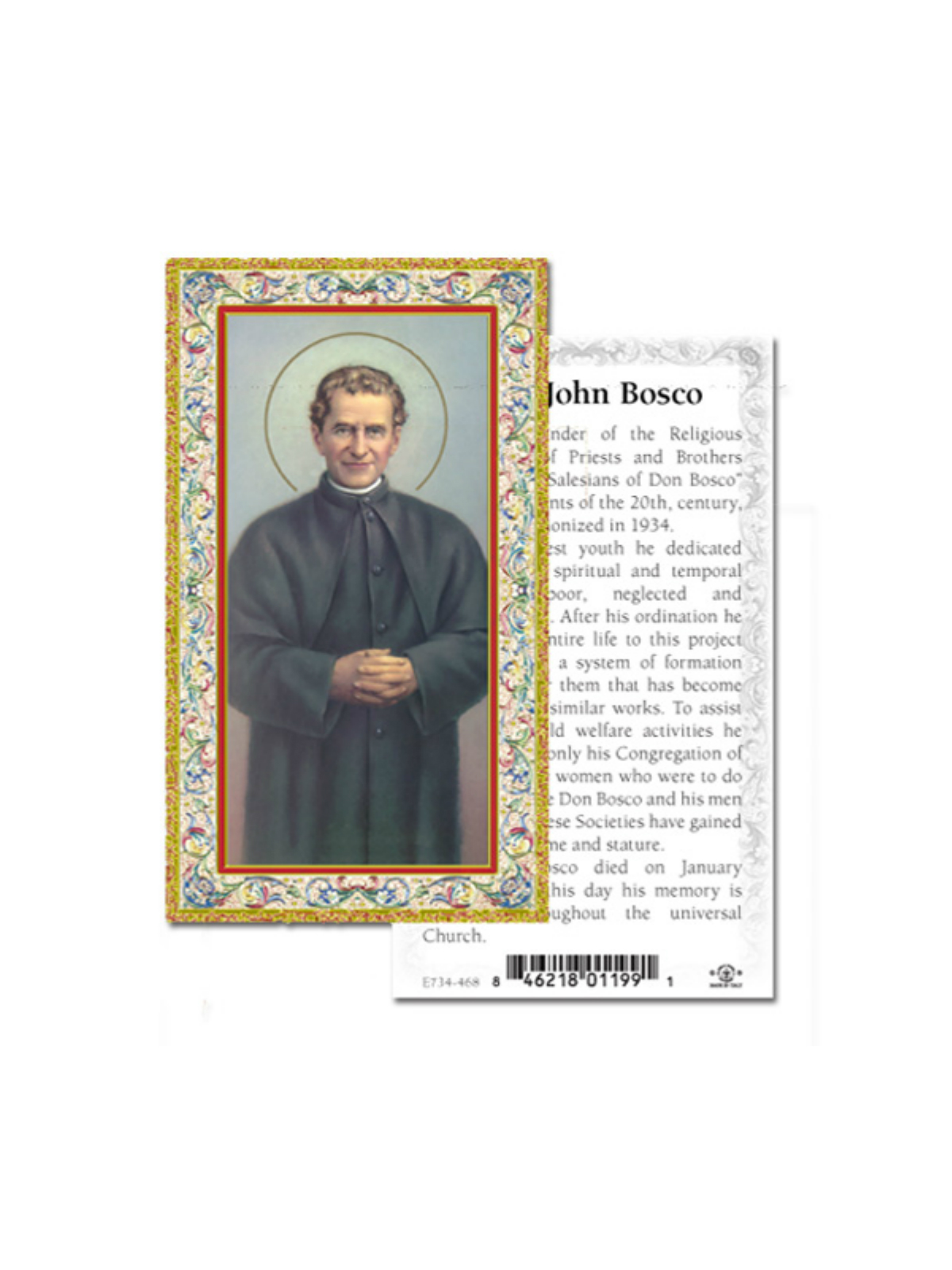St John Bosco Prayer Card