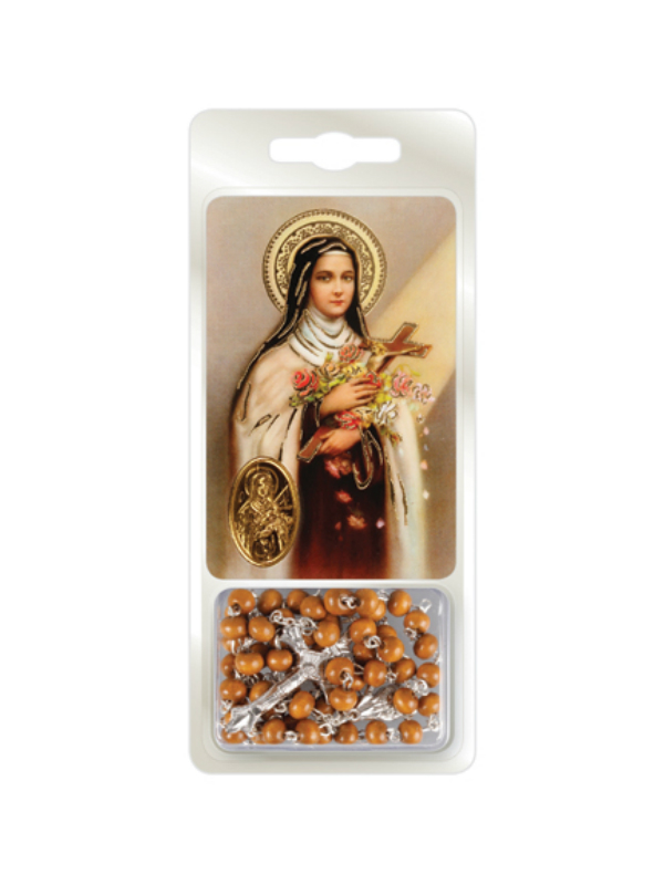 St Therese Rosary and Prayer Card