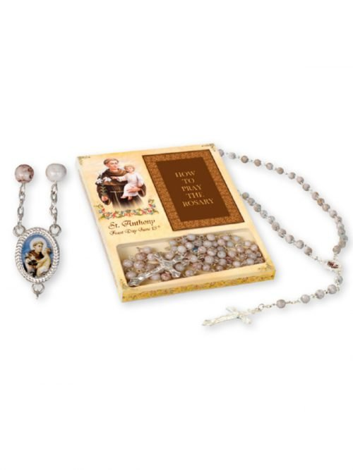 St Anthony Glass Rosary