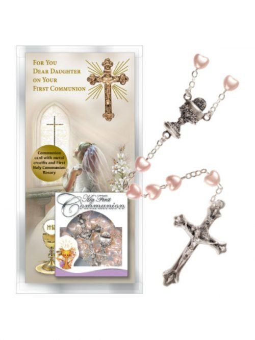 First Holy Communion Card and Rosary for a Daughter